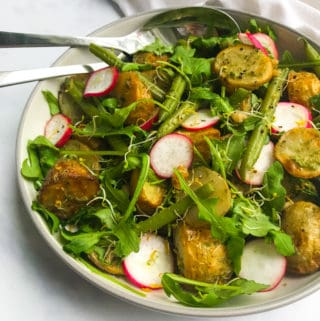 Walnut Pesto Potato Salad with Green Beans & Radish. Vegan, GF & Healthy!
