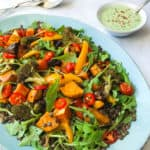 Chilli Roasted Vegetable and Lentil Salad with Coriander Yoghurt Dressing. Vegan, GF & Healthy!