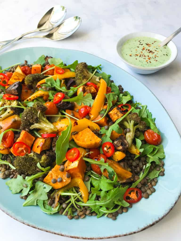 Chilli Roasted Vegetable and Lentil Salad with Coriander Yoghurt Dressing. Vegan, GF & Healthy!