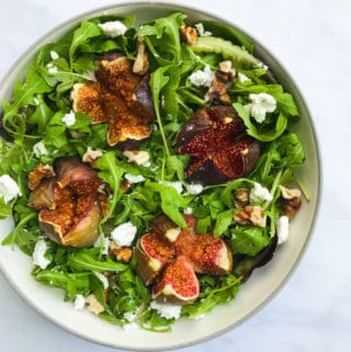 Honey Roasted Fig Salad with Goats Cheese, Wild Rocket & Walnut Salad with a Balsamic Reduction. Healthy, GF & Vegan Option - Georgie Eats.