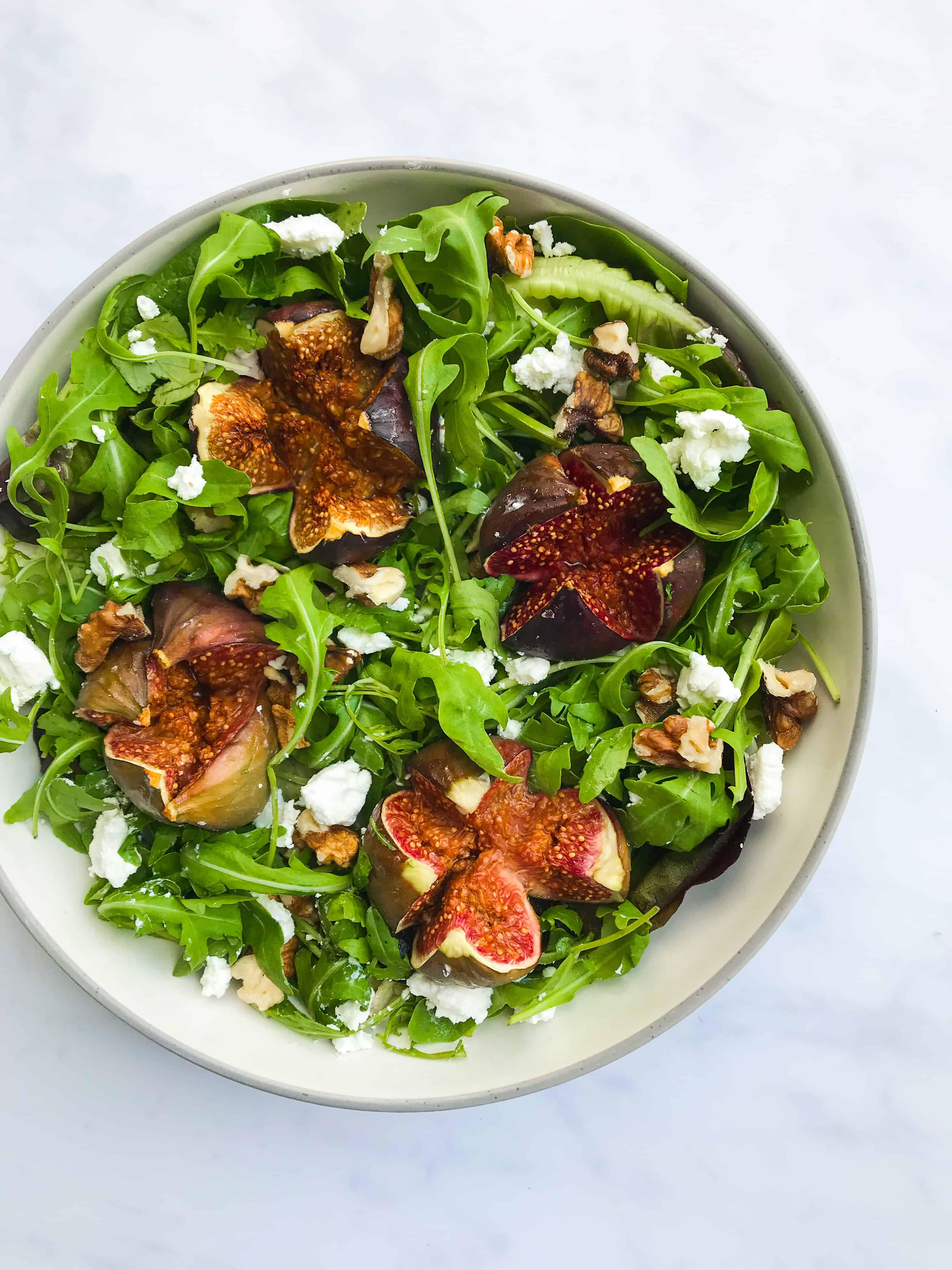 Honey Roasted Fig, Goats Cheese, Wild Rocket & Walnut Salad with a Balsamic Reduction. Healthy, GF & Vegan Option - Georgie Eats.