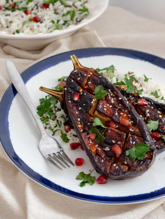 Miso Aubergine with Herby Wild Rice & Pomegranate Seeds - Vegan, Healthy & GF. Georgie Eats.