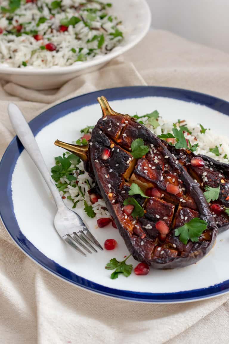 Miso Aubergine with Herby Wild Rice & Pomegranate Seeds - Vegan, Healthy & GF. Georgie Eats.