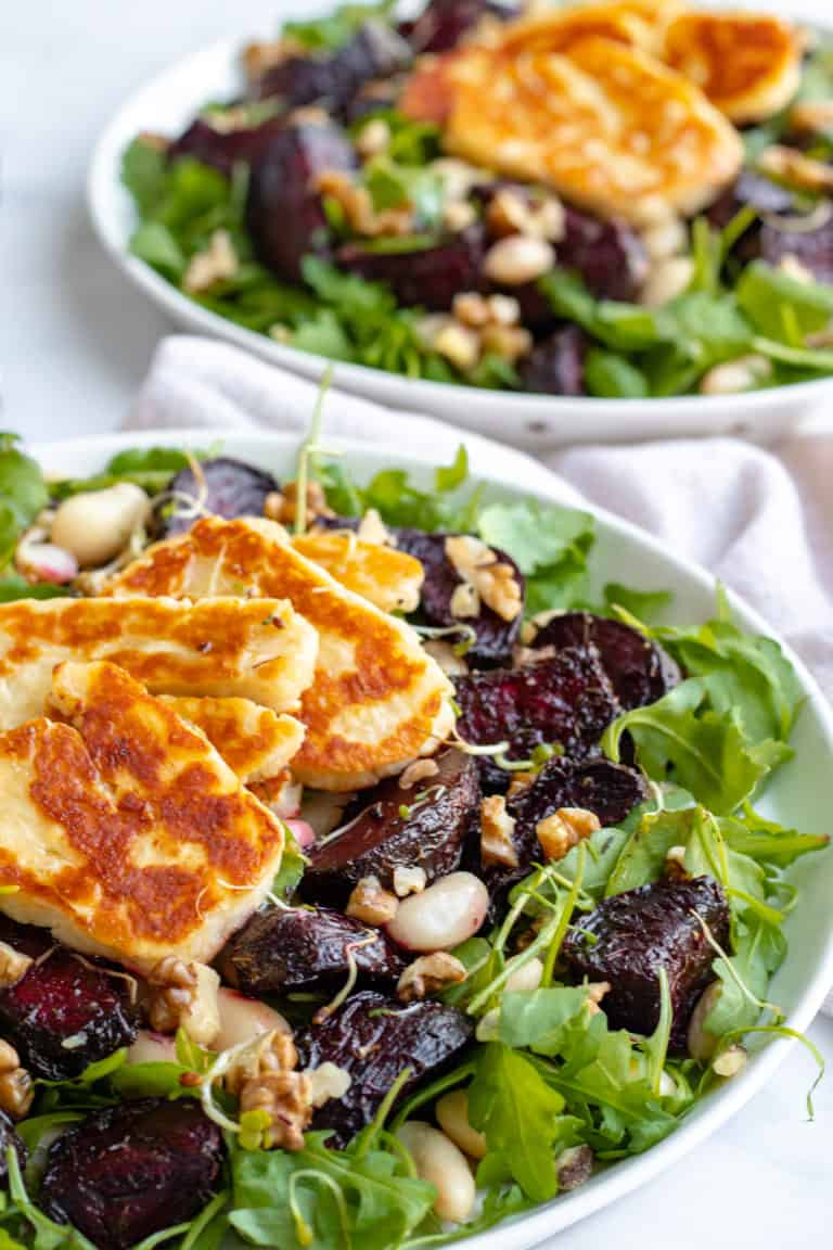 Honey Roast Beetroot and Halloumi Salad with Butter Beans & Walnuts - Healthy + GF! Georgie Eats