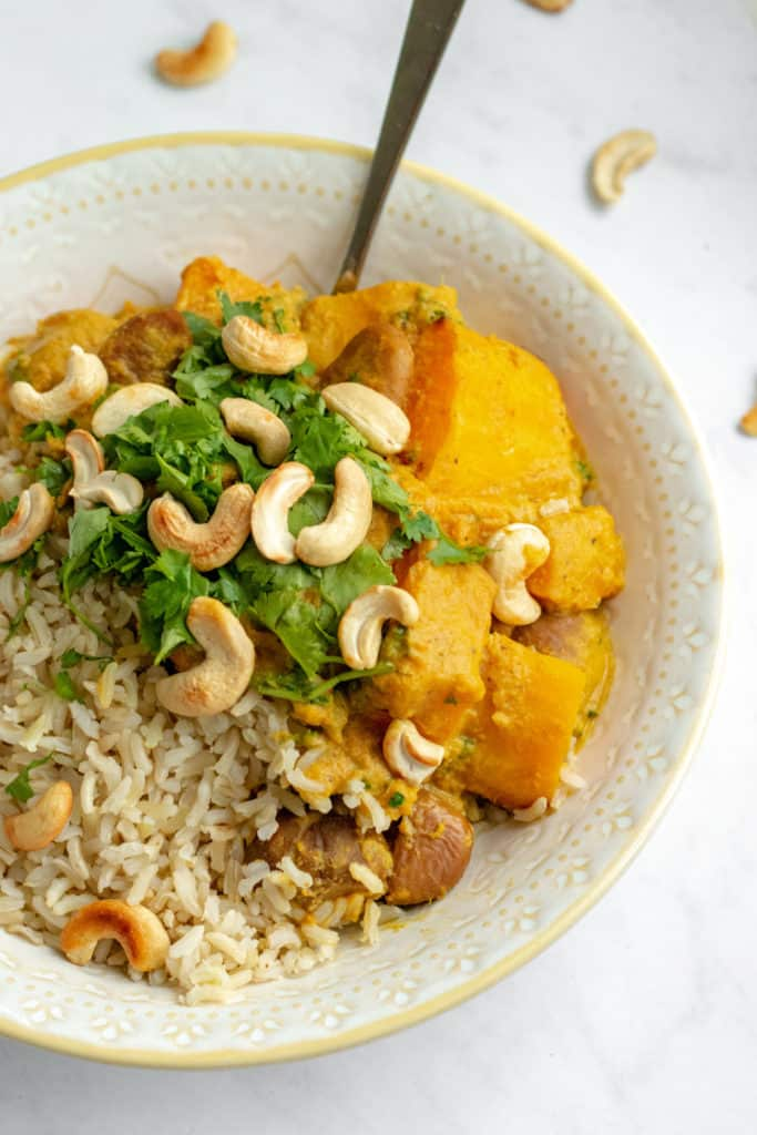 Butternut Squash Curry with Chestnuts & Kale - Vegan, GF & Healthy! Georgie Eats