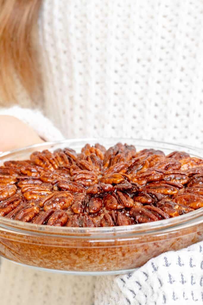 Pecan Pie Baked Porridge - Healthy, GF & Vegan Option! Georgie Eats.