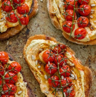 Balsamic Roasted Tomato & Hummus Toast - Vegan, GF & Healthy! Georgie Eats.