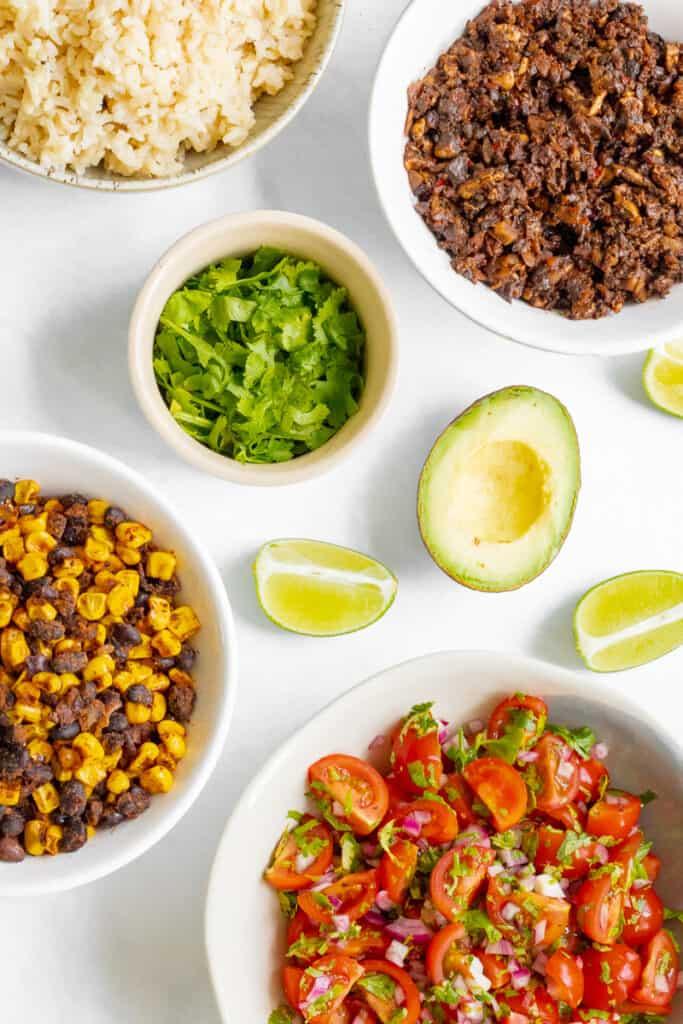 Components of Mushroom Burrito Bowl.