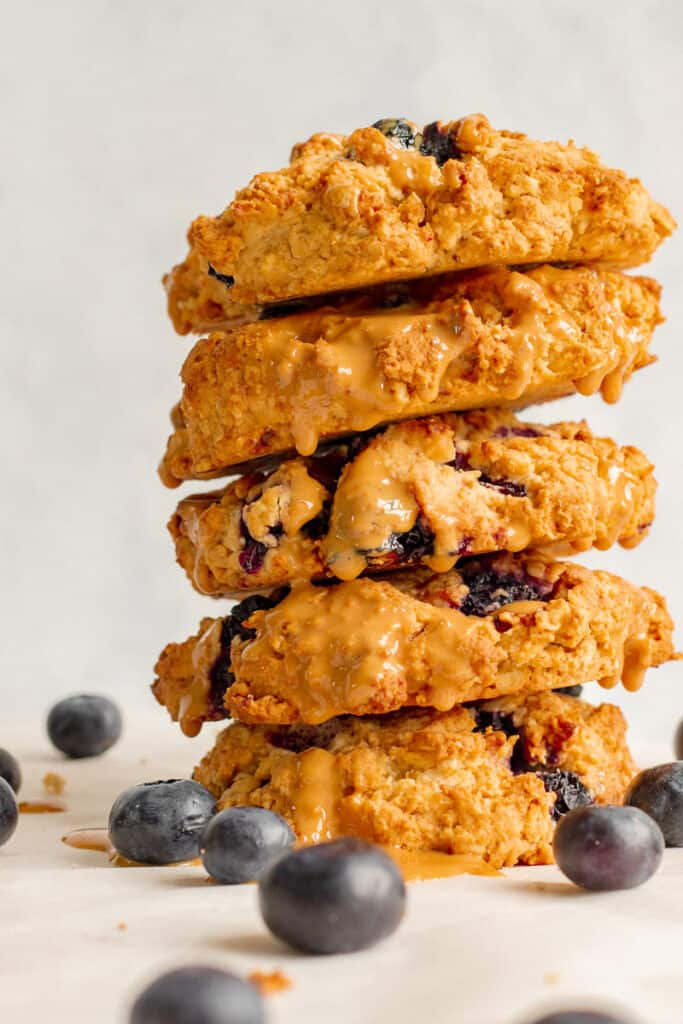Blueberry Crumble Cookies Stacked High with Cashew Drizzle - Vegan, GF & Healthy! Georgie Eats.