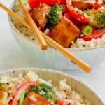 Two bowls of Hoisin Tofu Stir-fry. Vegan, GF & Healthy! Georgie Eats.