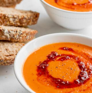 Roasted Tomato & Harissa Soup - Vegan, GF & Healthy! Georgie Eats