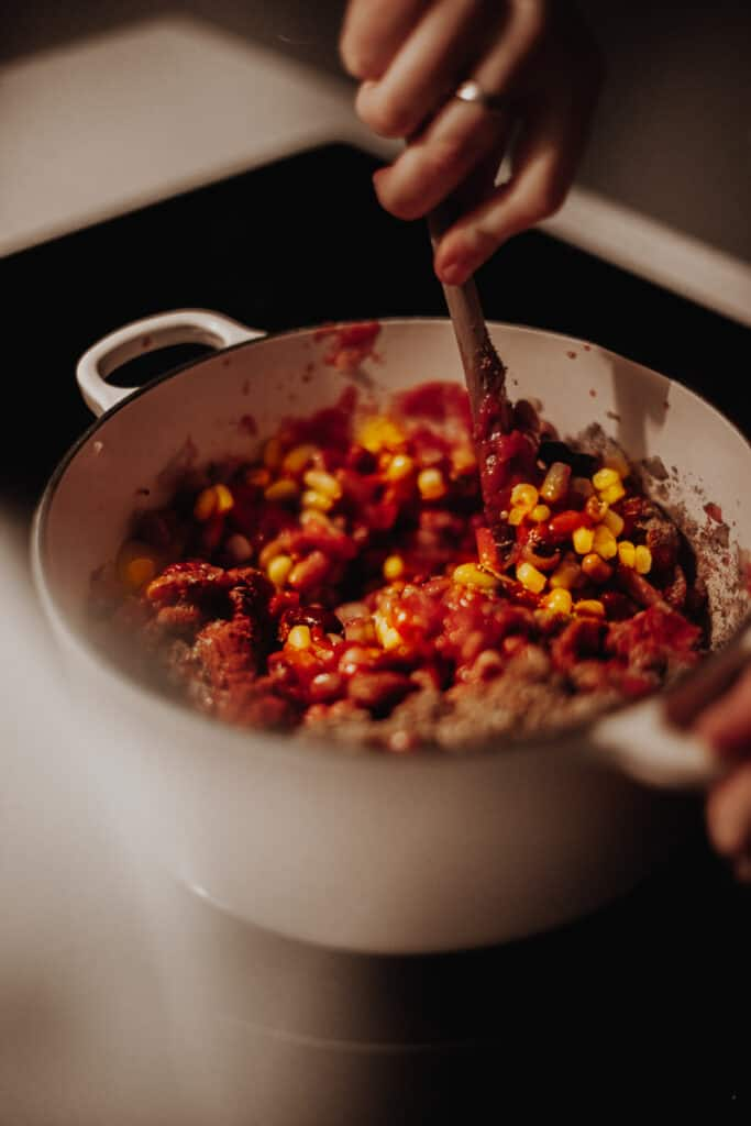 Stirring the Mixed-Bean Veggie Chilli