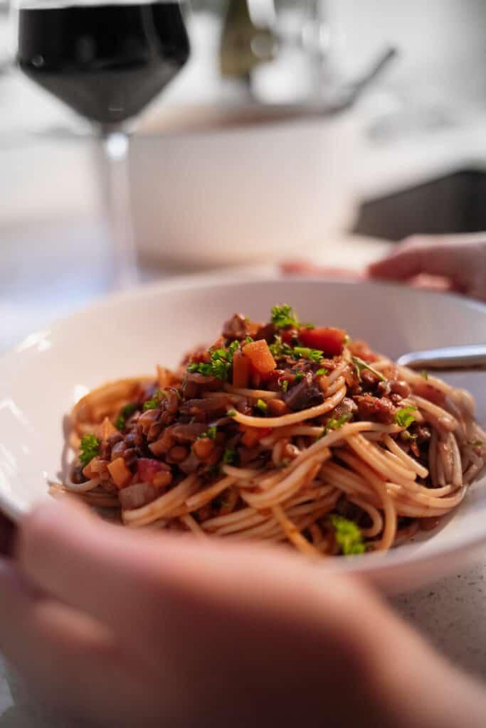 Close up of Best Ever Lentil Bolognese - Vegan, GF & Healthy! Georgie Eats.