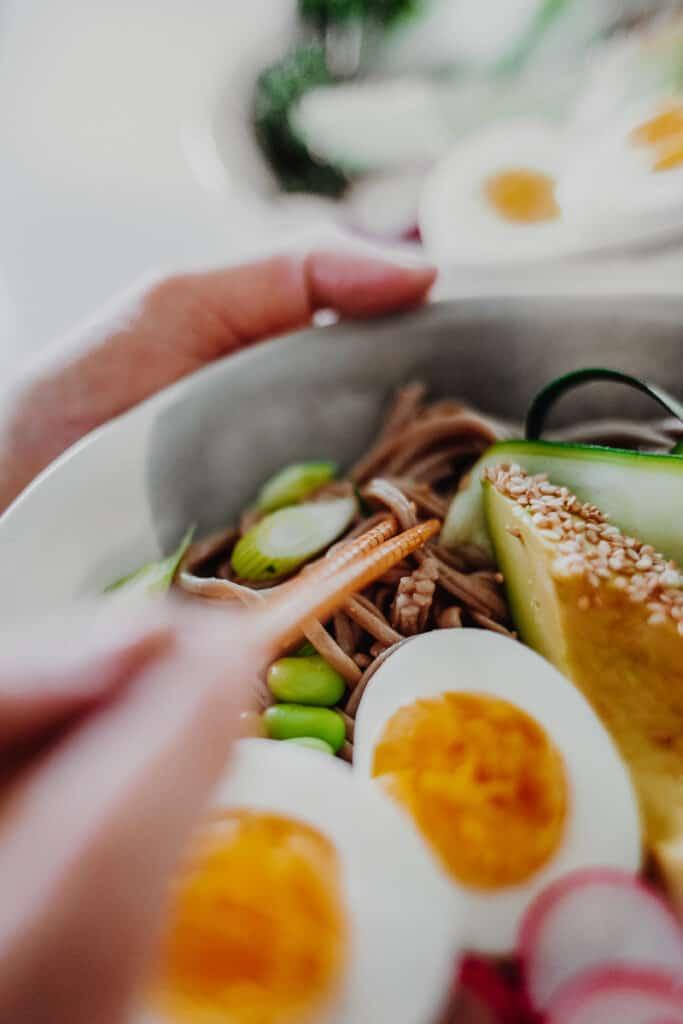 Close up of the Miso Noodle Bowls - GF & Healthy! Georgie Eats.