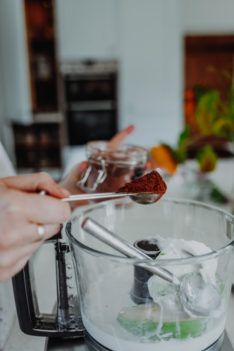 combining the ingredients in a food processor