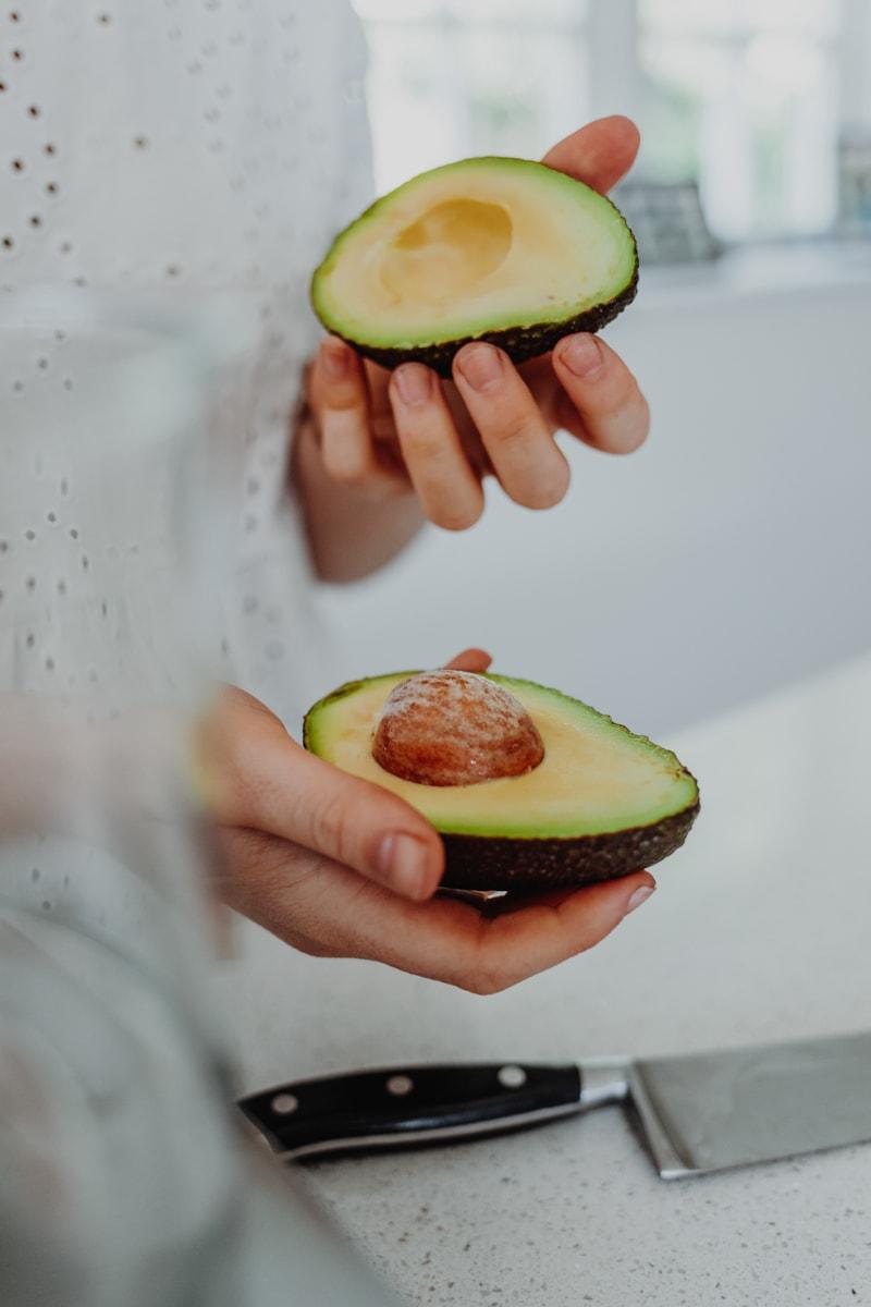 cutting an avocado in half