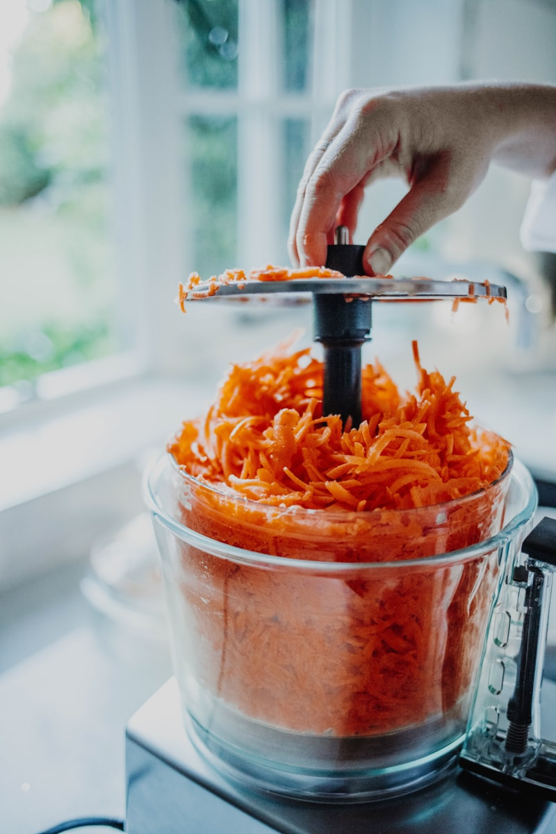 Grating the carrot in a food processor