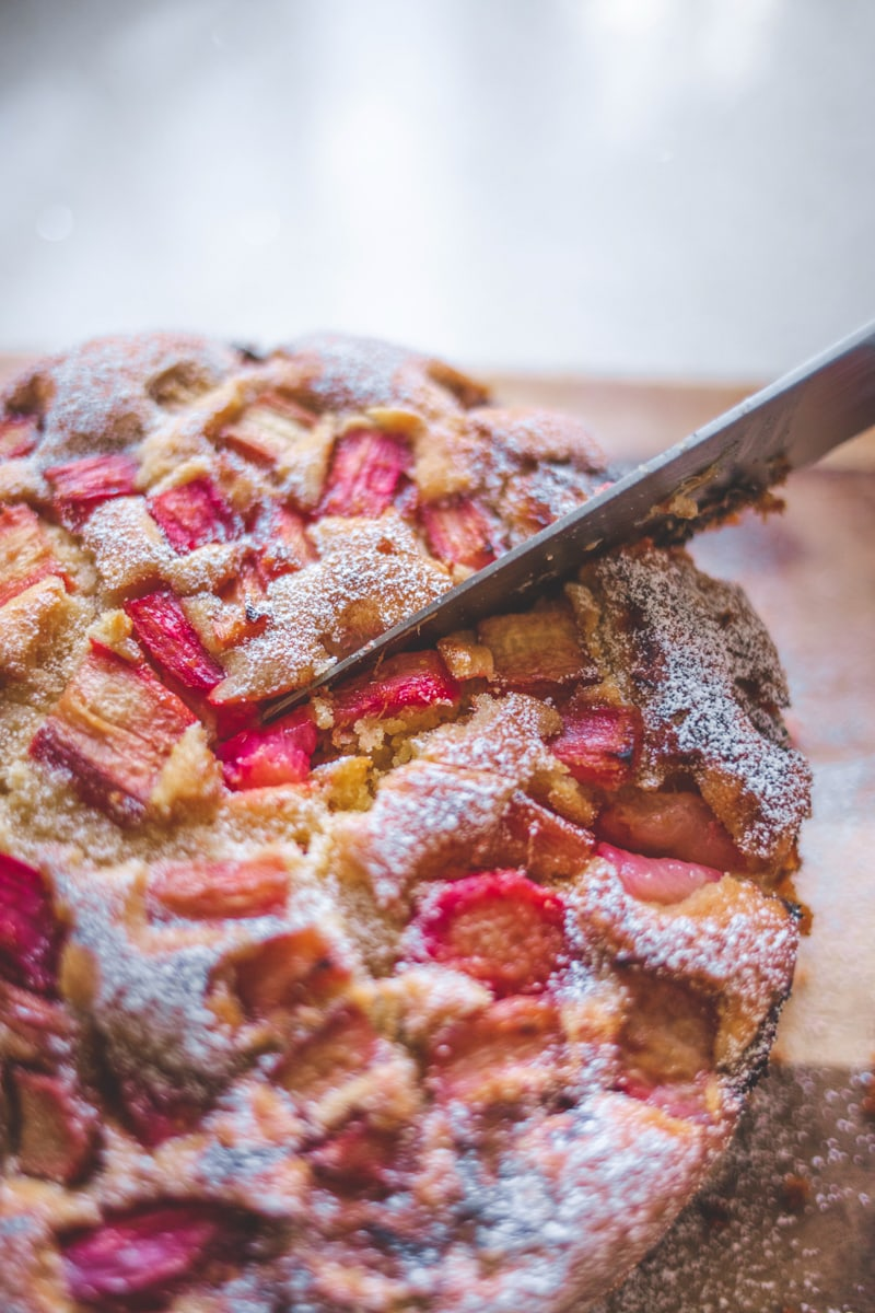 Rhubarb & Almond Cake - Dairy & Gluten-Free! Georgie Eats