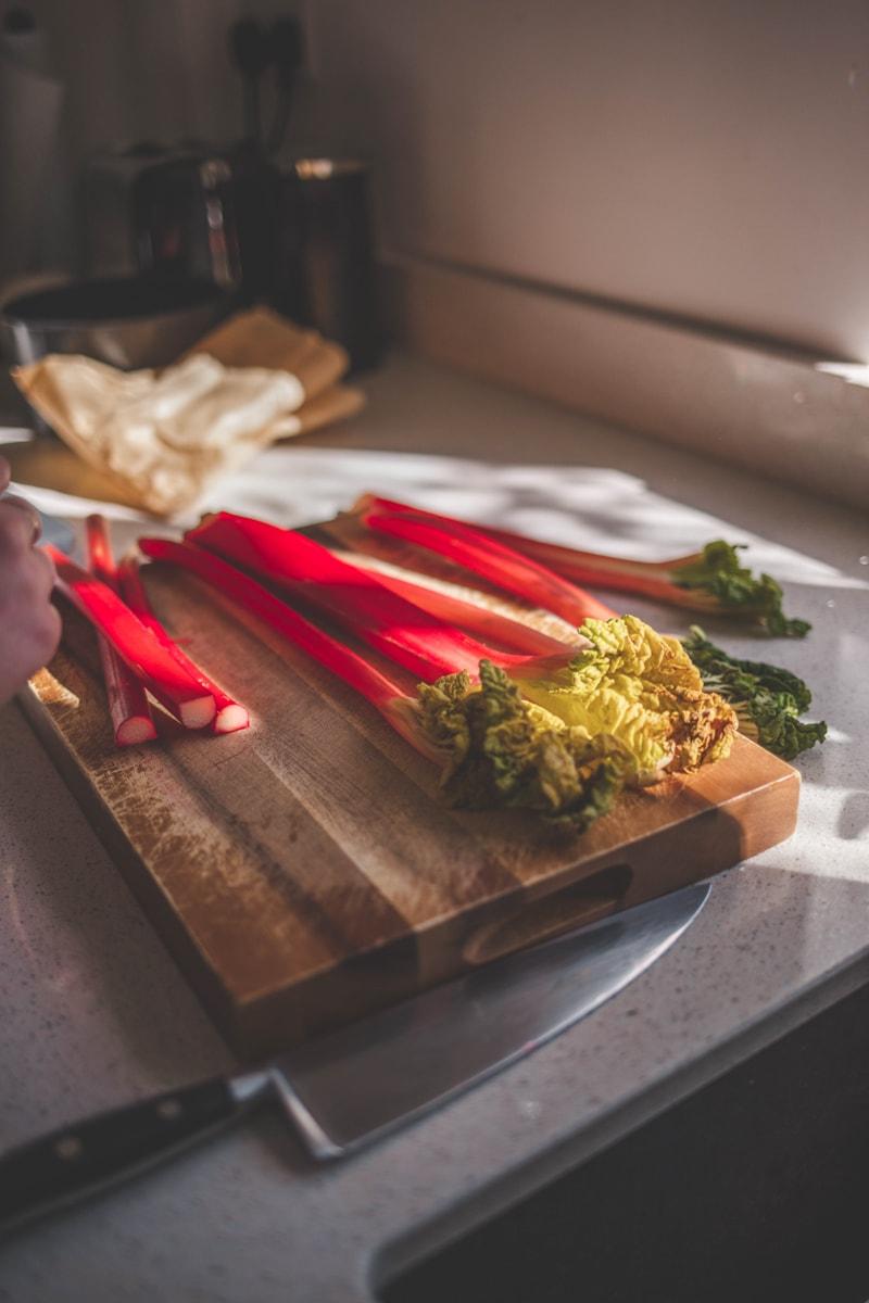 Rhubarb on a chopping board