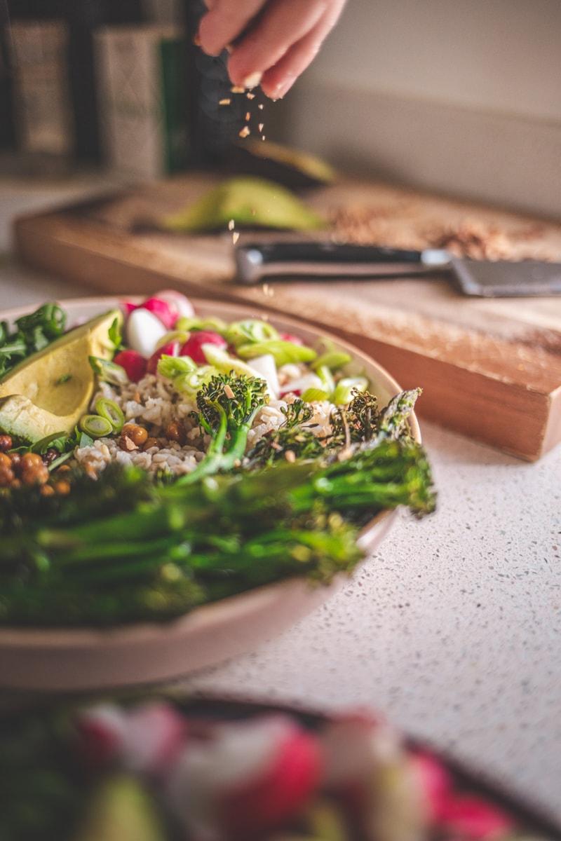Roasted Broccoli Nourish Bowl - Georgie Eats