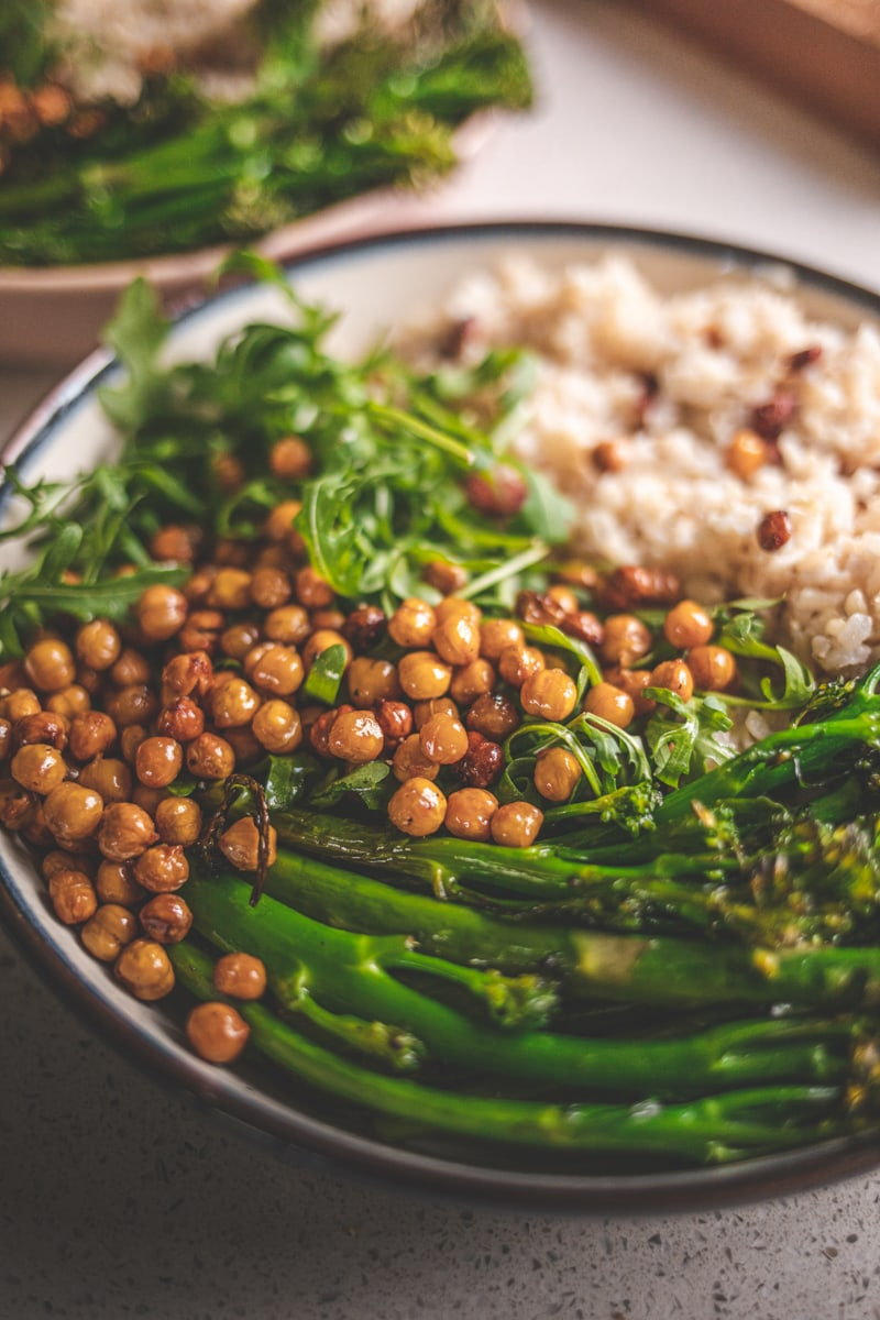 Building the roasted broccoli nourish bowl